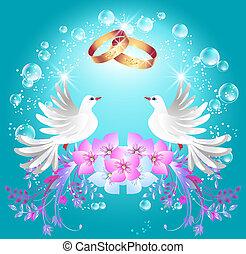 ringen, twee, duiven, trouwfeest