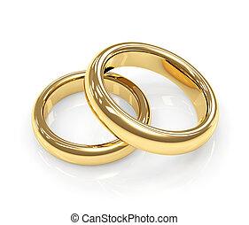 ringen, twee, goud, trouwfeest