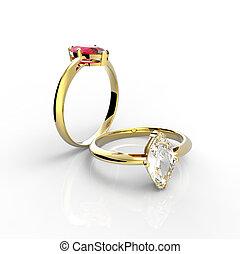 ringen, witte, diamant, Vrijstaand, achtergrond