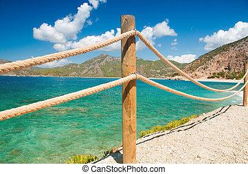 ringhiera, moraira, mediterraneo, corda, legno, mare, ringhiera, marino