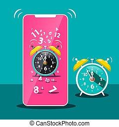 Ringing Alarm Clock Icon. Vector Cellphone Symbol. Time.