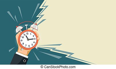 Ringing alarm clock is in the hand of a man