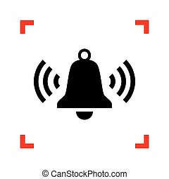 Ringing bell icon. Black icon in focus corners on white backgrou