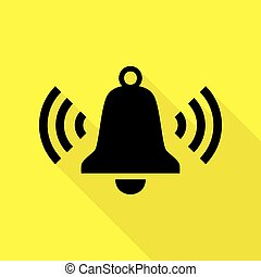 Ringing bell icon. Black icon with flat style shadow path on yellow background.