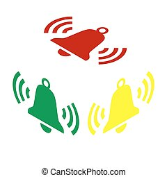 Ringing bell icon. Isometric style of red, green and yellow...