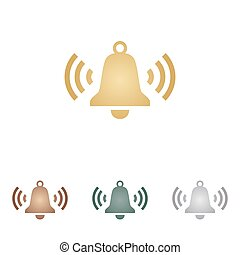 Ringing bell icon. Metal icons on white backgound.