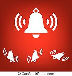 Ringing bell icon set. Isometric effect