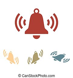 Ringing bell icon set. Isometric effect
