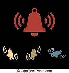 Ringing bell icon set