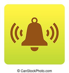 Ringing bell icon. Vector. Brown icon at green-yellow gradient square with rounded corners on white background. Isolated.
