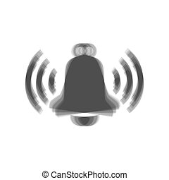 Ringing bell icon. Vector. Gray icon shaked at white background.