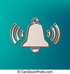 Ringing bell icon. Vector. Icon printed at 3d on sea color background.