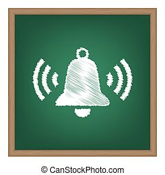 Ringing bell icon. White chalk effect on green school board.