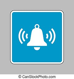 Ringing bell icon. White icon on blue sign as background.