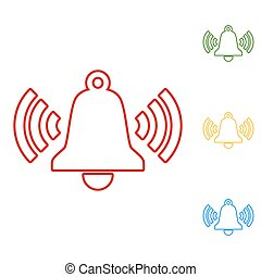 Ringing bell. Set of line icons