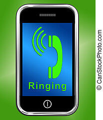 Ringing Icon On Mobile Phone Shows Smartphone Call - Ringing...
