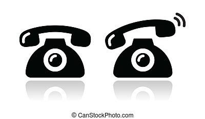 Black old phone ringing icon with reflection