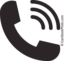 Ringing phone handset telephone vector icon symbol flat style for graphic design, logo, web site, social media, mobile app, ui illustration