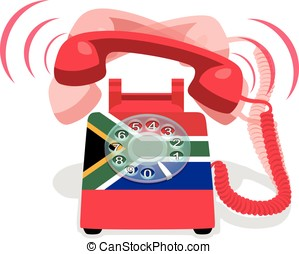 Ringing red stationary phone with rotary dial and flag of Republic of South Africa