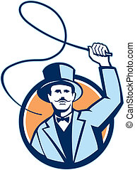 Illustration of circus ringleader ringmaster ring leader wearing bow tie suit wielding a whip set inside circle.