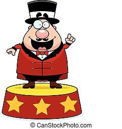 Ringmaster Announce - A happy cartoon ringmaster announcing...