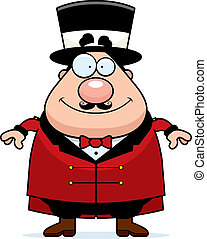 Ringmaster Smiling - A happy cartoon ringmaster standing and...