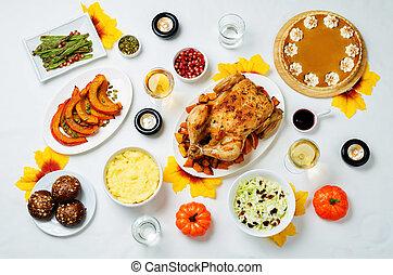 ringraziamento, autunno, regolazione, piatto, pietanza, tavola, principale
