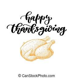 ringraziamento, decorat, vettore, lettering., giorno, scheda, scritto mano