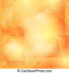 ringraziamento, giallo, vettore, fondo, arancia, giorno
