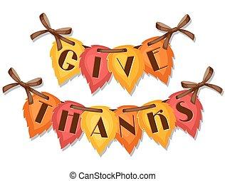 ringraziamento, giorno, augurio, card., fondo, con, autunno, vive