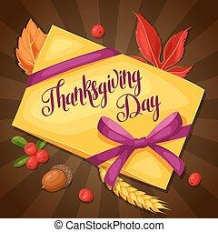 ringraziamento, giorno, augurio, card., fondo, con, lettera, e, autunno, oggetti