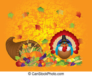 ringraziamento, giorno, cadere, abbondante, raccogliere, cornucopia, con, tacchino, pellegrino, zucche, frutta verdure, illustrazione