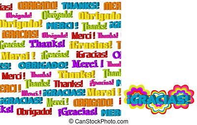 ringraziamento, internazionale, 3d, grafico