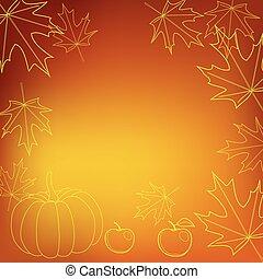 ringraziamento, luminoso, vettore, fondo, arancia, giorno