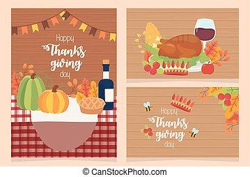 ringraziamento, manifesti, stagione, felice, cena, collezione, celebrazione