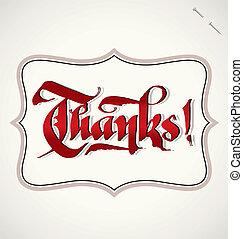 ringraziamento, mano, iscrizione, (vector)