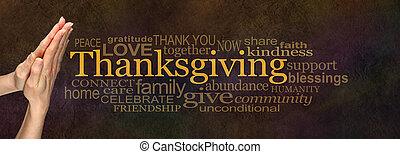 ringraziamento, nuvola, parola