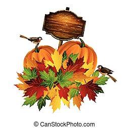 ringraziamento, vettore, autunno, composizione