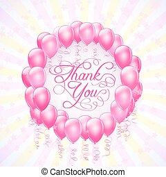 ringraziare, cornice, fondo, vettore, stelle, lei, palloni