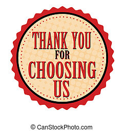 ringraziare, francobollo, adesivo, ci, scegliere, lei, o