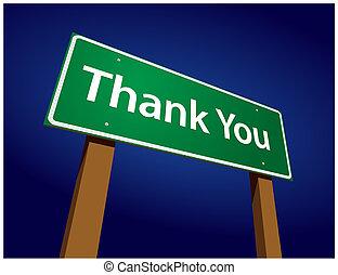ringraziare, illustrazione, segno, verde, lei, strada