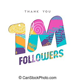 ringraziare, milione, numero 1, seguace, internet, lei, scheda