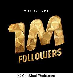 ringraziare, oro, milione, 1, seguace, internet, lei, scheda