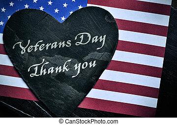 ringraziare, testo, giorno, ci bandiera, lei, veterani