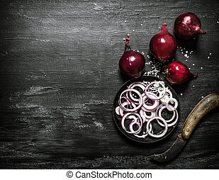 rings., 新たに, 切口, 赤い玉ねぎ