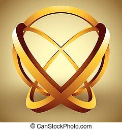 rings., 球, 抽象的, 作られた, 3d