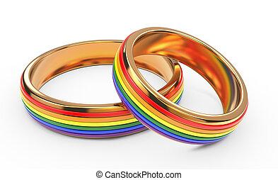 rings., arc-en-ciel, concept, mariage, gay