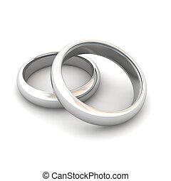 rings., boda, rendido, illustration., 3d