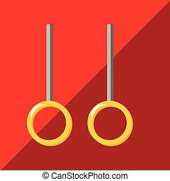 rings., dos tonos, plano de fondo, gimnástico, icono