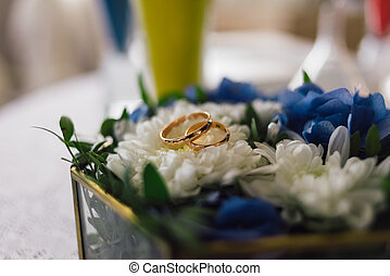 rings for the wedding ceremony lie on flowers - rings for ...